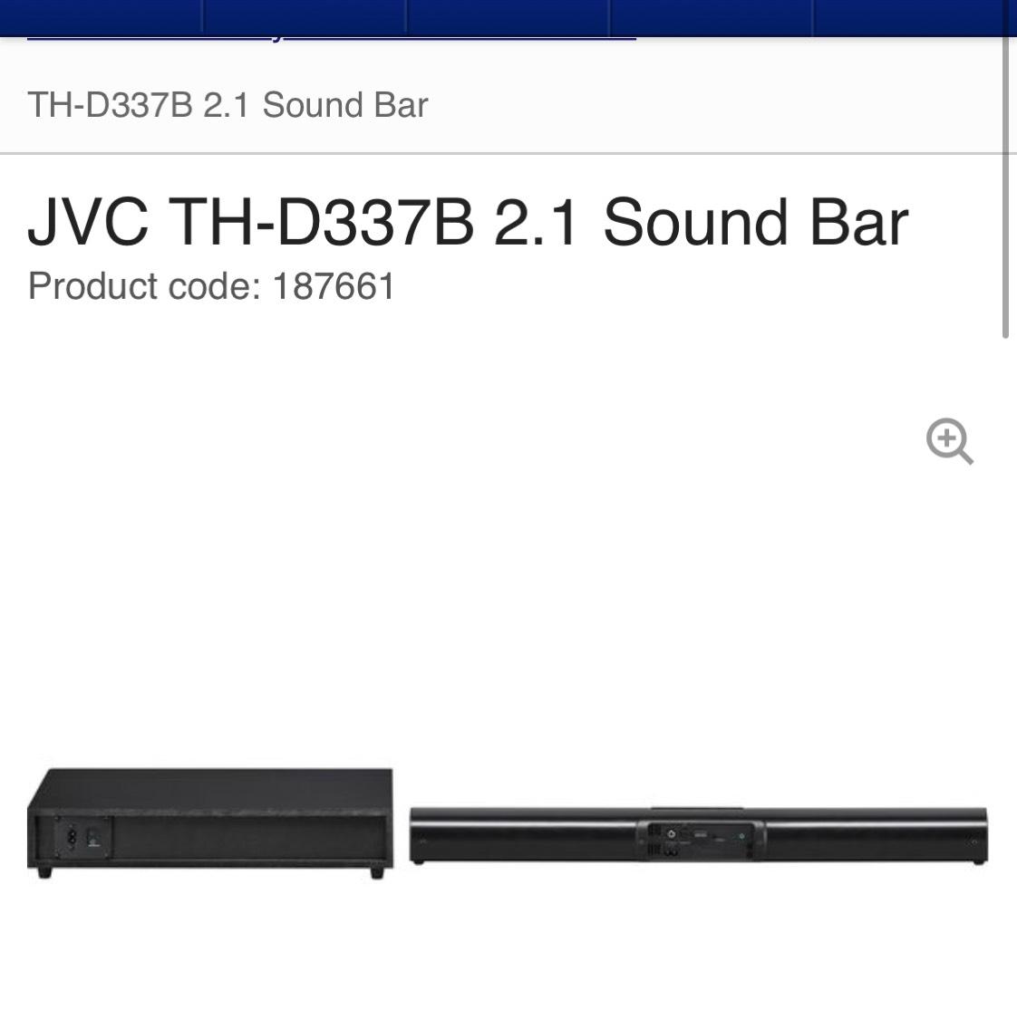 Jvc sound bar & subwoofer £79.99 @ Currys /pc world