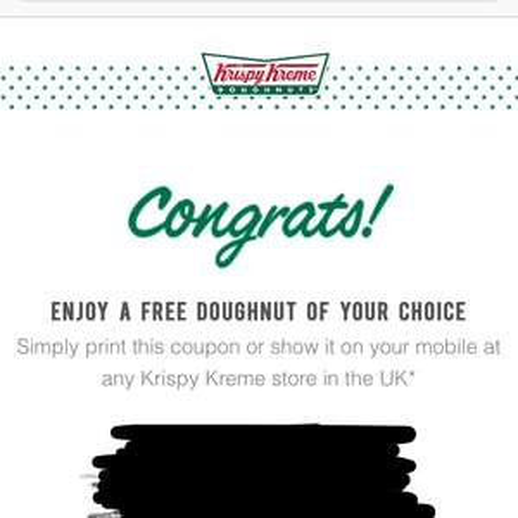 Valentines free doughnut from Krispy Kreme via Vodafone app