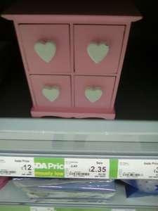 Pink 4 drawer wooden trinket box with heart handles 2.35 @ Asda INSTORE