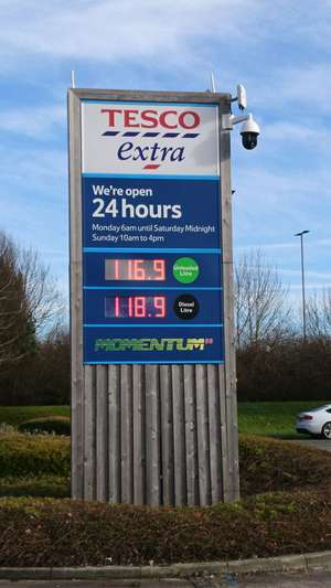 Petrol at tesco 116.9p per litre but £1.06.9 per litre with the save 10p on fuel when you spend over £60 on groceries