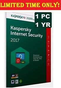 Kaspersky Internet Security 2017 1PC - 1 Year - 1 Device - Anti virus for £3.99 @ digits.mart eBay