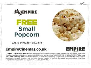 Free small popcorn @ Empire Cinemas (valid until 28th Feb 18)