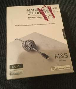 Native Union NIGHT charging Cable (Apple certified) 3m. £14 - M&S Outlet, Urban Exchange Manchester