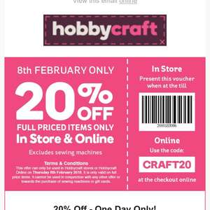 20% off @ hobbycraft thurs 8th feb