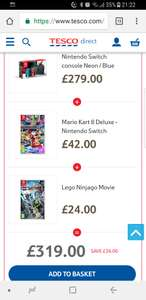 Buy a Nintendo Switch Neon, Mario Kart 8 and Lego Ninjago for £319 @ Tesco