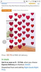 Valentines Day Red Hearts Hanging String Decorations x 6 - Sold and Fulfilled by Right Goods Right Price via Amazon - £2.15 Delivered
