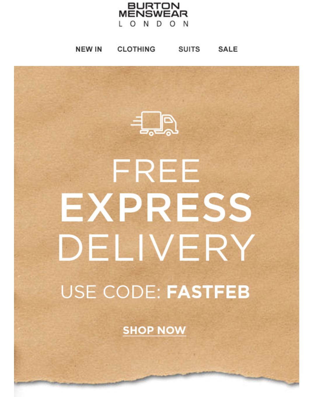Free express delivery @ Burton Menswear