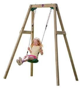 Poss mis-price - Plum Wooden Single Swing Set £42.95 Del + inc in Triple Clubcard Points Outdoor Toy Event @ Tesco Direct