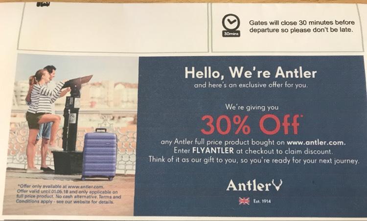 30% off full priced items on Antler website