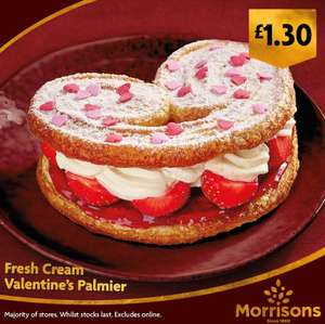 Heart shaped fresh cream and strawberry Valentines Palmier £1.30 in store @ Morrisons