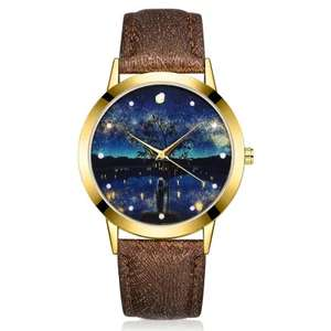 Women Watch Night Sky Dial Leather Band Quartz, £1.16 delivered @ gearbest