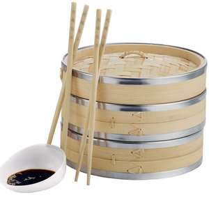 VonShef Premium 2 Tier 8'' Bamboo Steamer - Incl. 2 Pairs of Bamboo Chopsticks,  50 Wax Papers + 2 year warranty £12.99 delivered @ Domu