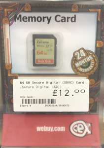 Sandisk Extreme 64GB SD Card ... 2 Year Guarantee - £12 instore @ CEX (Southport)