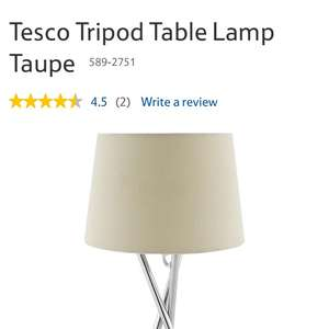 Tesco Tripod table lamp taupe £6.25 instore