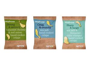Hand Cooked Cheddar & Onion or Sea Salted or Sea Salt & Vinegar Hand Cooked Crisps (150g) for 68p each with PYO @ Waitrose