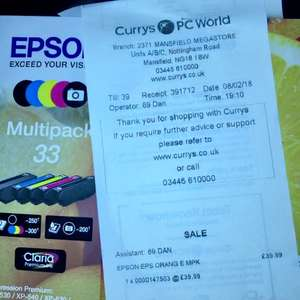 Epson 33 Claria Oranges ink multipack online price lower than in store - £39.99 online or C&C @ PCWorld