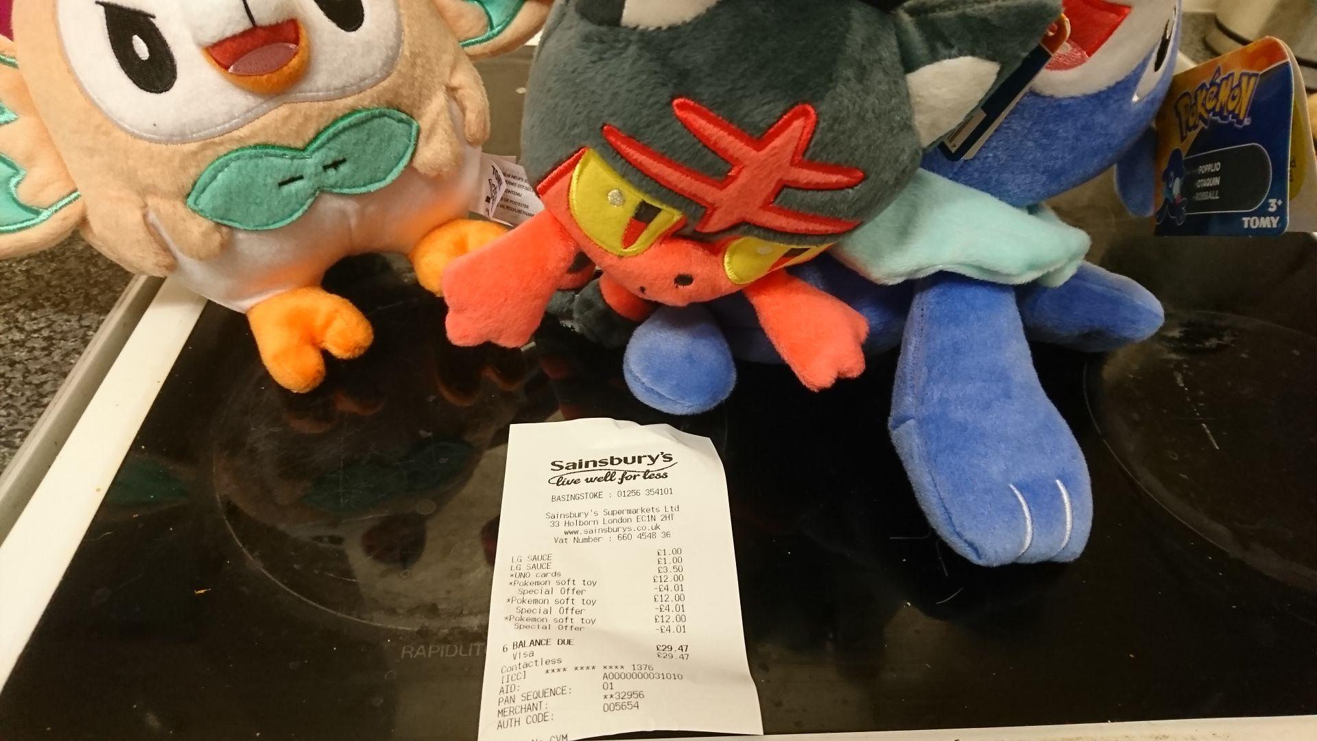 Pokemon plush £7.99 at Sainsbury's