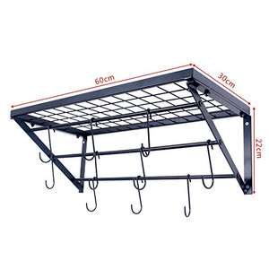Amazon Lightning Deal - Kitchen Shelf,Kitchen Rack and Pan Rack,Cooker Shelf,With 10 S-shape Hooks,Black £29.91 @ Sold by Zesproka Direct and Fulfilled by Amazon