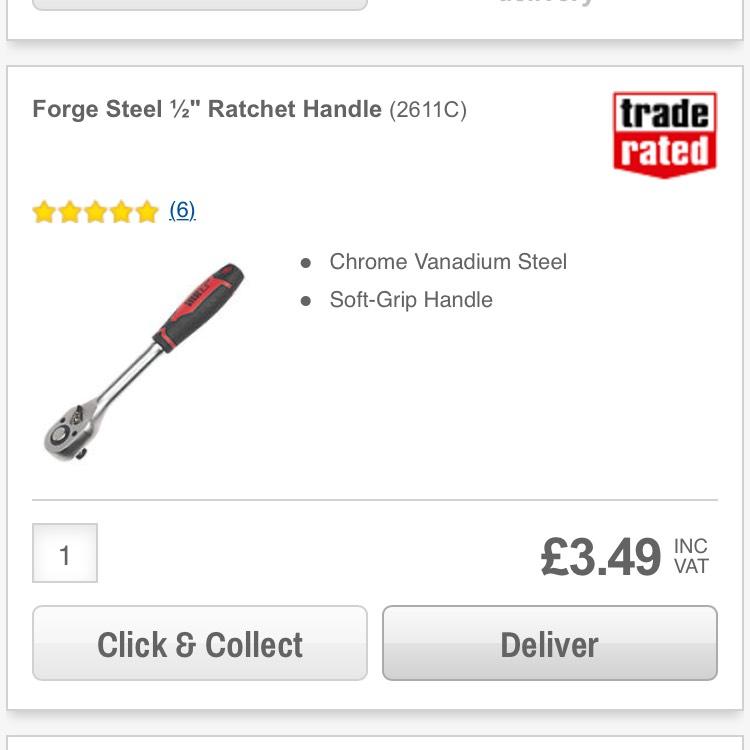 "FORGE STEEL ½"" RATCHET HANDLE @ Screwfix - £3.49"