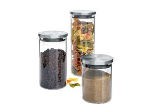 Ernesto air-tight storage containers (0.65L + 1L + 1.4L  / glass and steel) for £6.99 @ LIDL