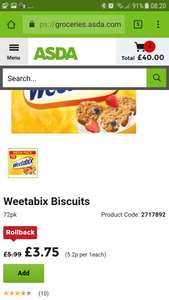 Weetabix 72 pack for £3.75 at Asda