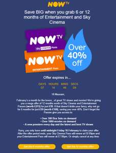 Now TV Cinema and Entertainment Pass over 40% off - 6mths £59 / 12 mths £99 (Possibly account specific)