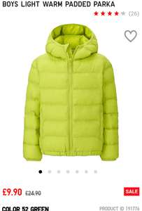 BOYS LIGHT WARM PADDED PARKA £9.90 @ Uniqlo - Free c&c
