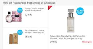 10% off Fragrances from Argos ebay at Checkout
