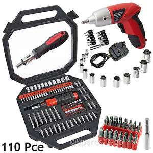 110 Pce Screwdriver Bits Socket Set & Rechargeable Cordless Electric Driver Tool £17.99 spares-2-go / Ebay