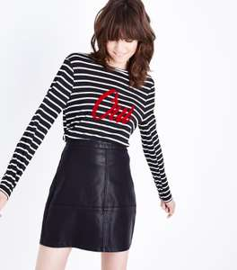 Black Leather-Look Mini Skirt was £19.99 now £2.00 @ New Look