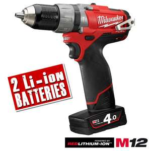 Milwaukee M12CPD Brushless 12v Combi, 2 x 4ah Batteries, Charger, Case £143.99 @ ITS