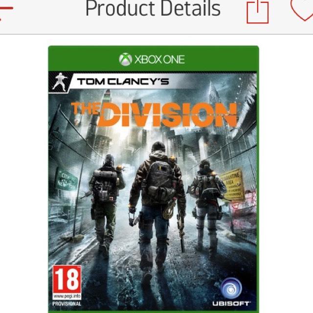 The Division XB1 £9.99 @ Argos