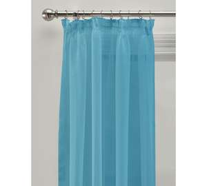 A pair of Unlined voile panels 152 x 228 cms Aqua- purple- red, was £14.99 now £3.49 @ argos