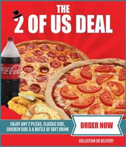 Tops Pizza- 2 large pizzas, 2 sides and bottle of drink delivered for £22.99