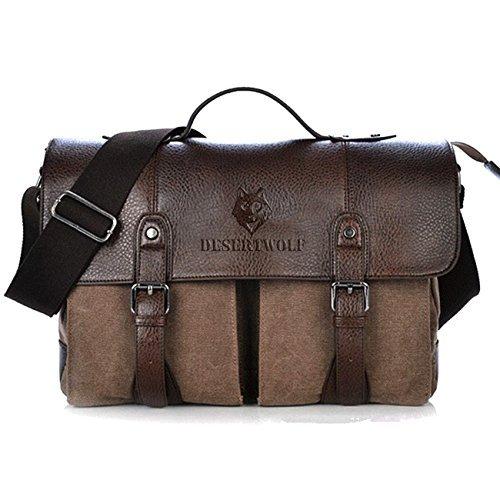 DesertWolf Canvas PU Leather Vintage Cross Body Messenger Bag/Briefcase Fit 13.3 inch Laptop £22.09 @ Amazon (Lightning Deal)