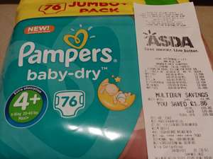 Pampers baby-dry 4+ £3.50 instore @ Asda