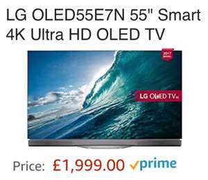 "LG OLED55E7N 55"" Smart 4K Ultra HD OLED TV £1999 Sold by Tvsandmore and Fulfilled by Amazon"