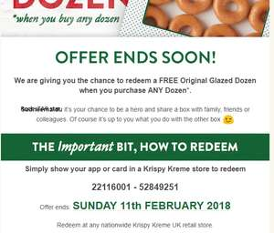 Redeem a FREE Original Glazed Dozen when you purchase ANY Dozen* @ Krispy Kreme