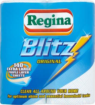 Regina Blitz Original Kitchen Towel 2 Rolls 140 Sheets 3 Ply @ Cooperative food