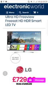 65 LG 65UJ701V 4K Ultra HD Freeview Freesat HD HDR Smart LED TV £729.99 @ ElectronicWorldTV - Grade A - see site for info