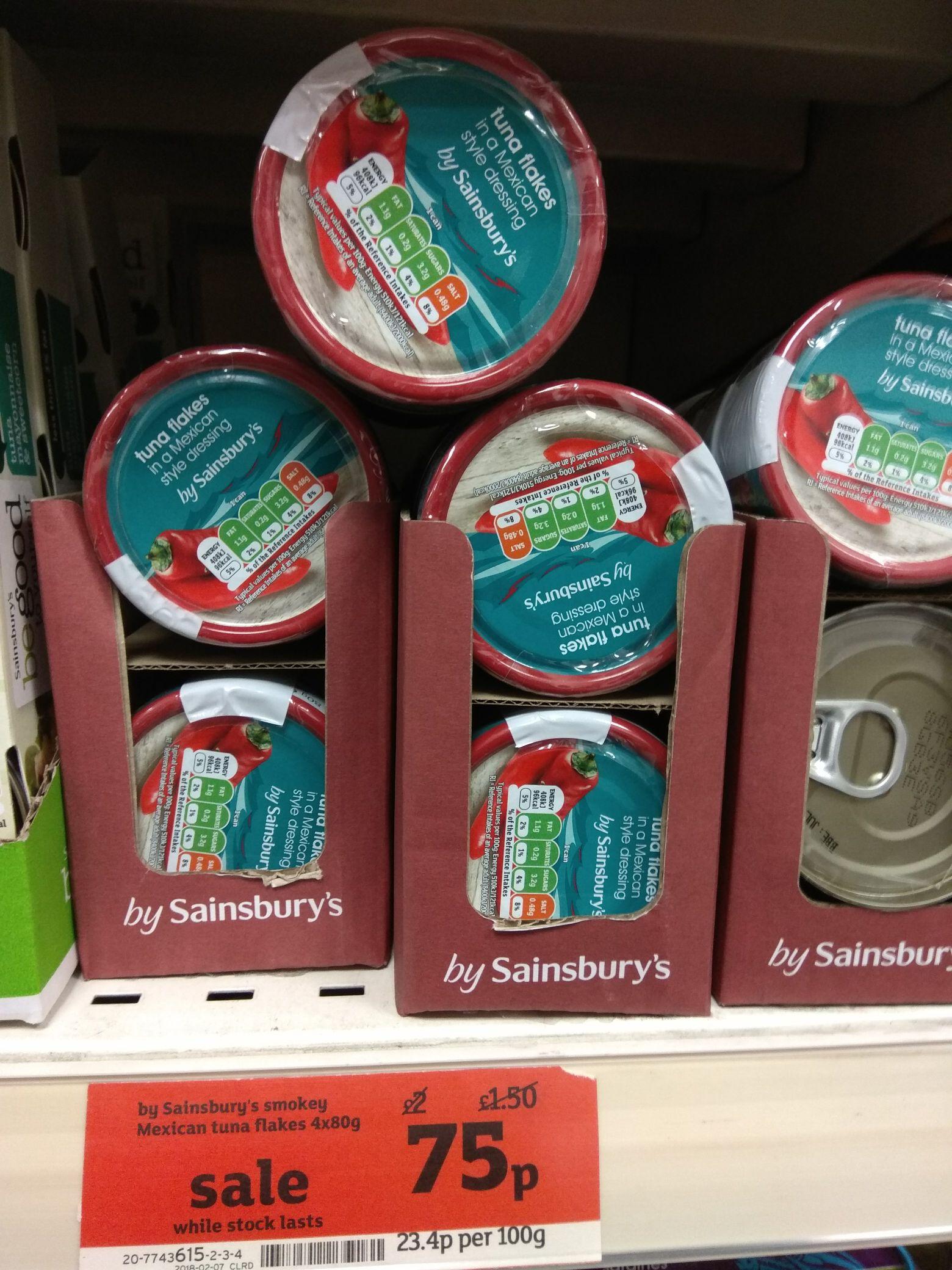 Sainsbury's smokey mexican tuna flakes 4 x 80g - 75p instore