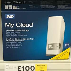 WD My Cloud 4tb Personal Cloud Storage - Reduced to Clear £100 in Tesco High Wycombe