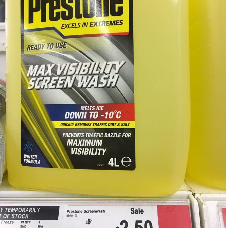 Prestone Max Screen Wash 4L - £2.50 instore @ ASDA