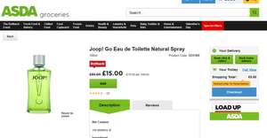 Joop! Go Eau de Toilette Natural Spray EDT 100ml £15 @ Asda Instore and Click & Collect (From Groceries)