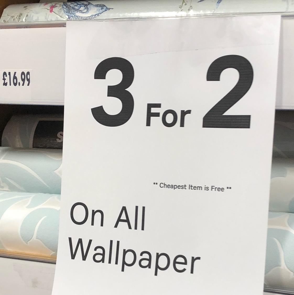 3 for 2 on Wallpaper @ Homebase (Cardiff)