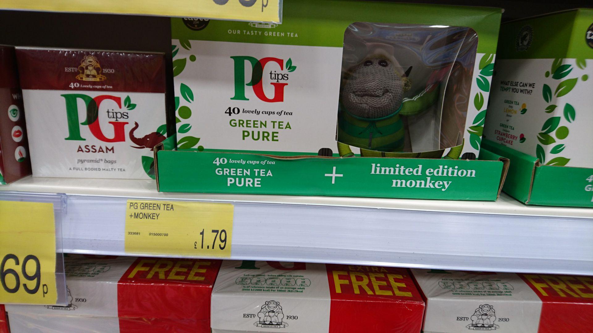 Pg tips green tea ( 40 pck)  + monkey b & m Bromborough - £1.79