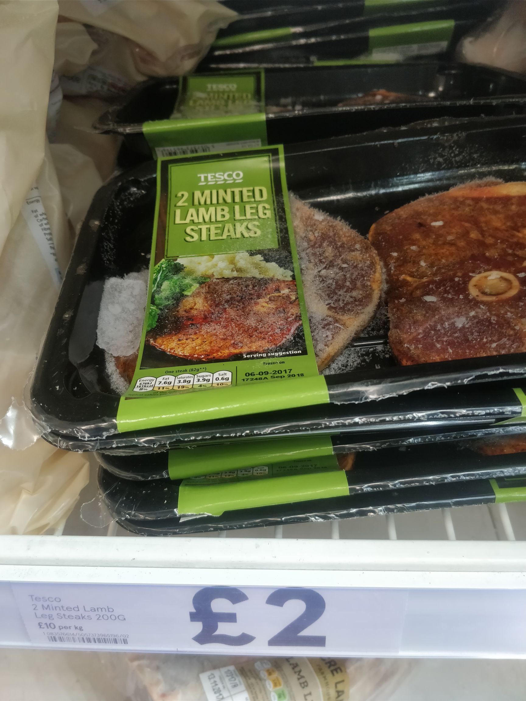 Tesco frozen minted lamb steaks £2 (instore)