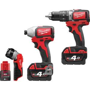 Milwaukee M18BLPP2D-423C 18V Li-Ion Brushless Combi Drill & Impact Driver Twin Pack Plus Free LED Torch 2 x 4.0Ah (18V) & 1 x 2.0Ah (12V) - £285.98 with code @ Toolstation
