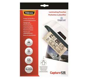 Fellowes A4 gloss laminating pouches - pack of 25 now £2.99 - Argos