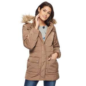 Mantaray supersoft faux fur trim taupe hooded parka coat 10,12,16,18,20 was £95 now £28.50 @ debenhams
